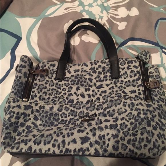 20f0db395d74 Guess Bags | Denim Leopard Print Bag | Poshmark